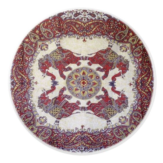 Elephant pattern in red color plates