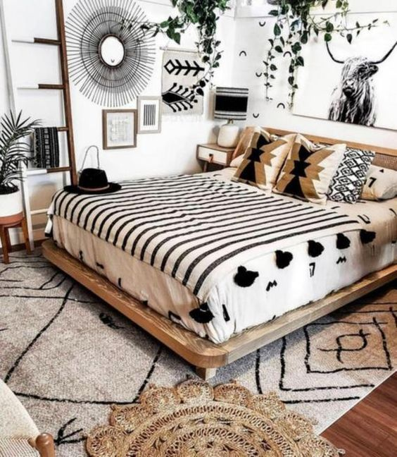 Industrial chic bedroom with unique patterns