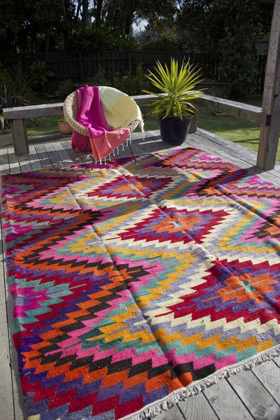 Colorful bohemian pattern rug
