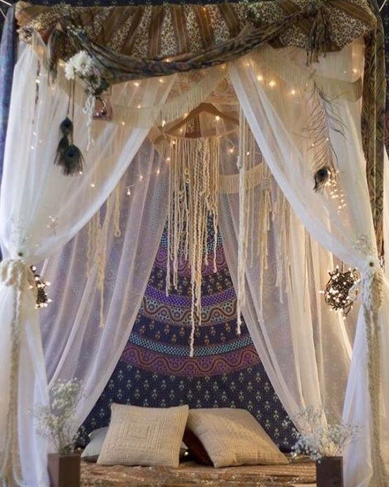 Bohemian aesthetic bed canopies