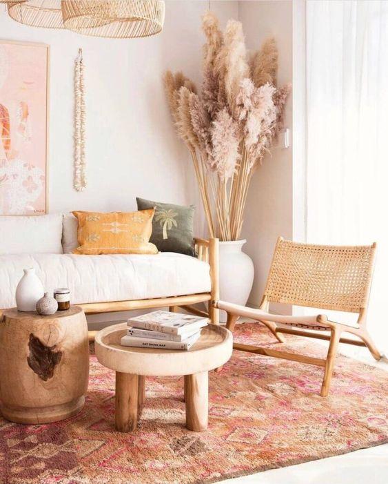 beige cozy bohemian living room concept