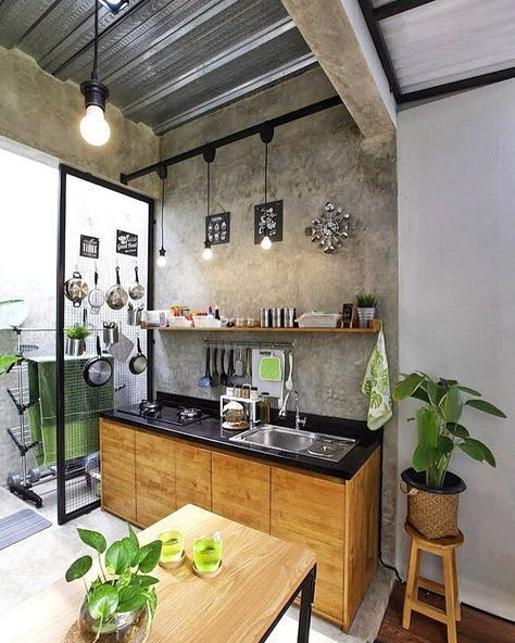 Fresh small industrial kitchen