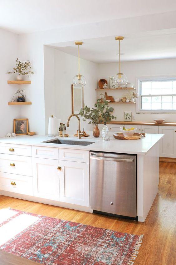 White and gold bohemian kitchen