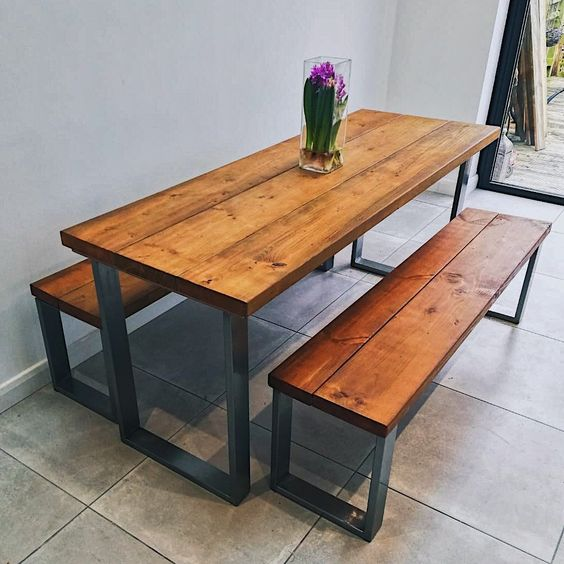 A rectangular wooden dining table