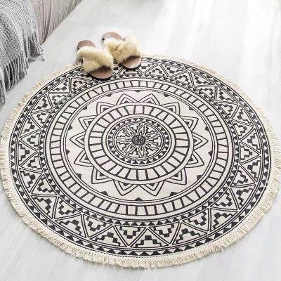 Monochrome round bohemian rugs