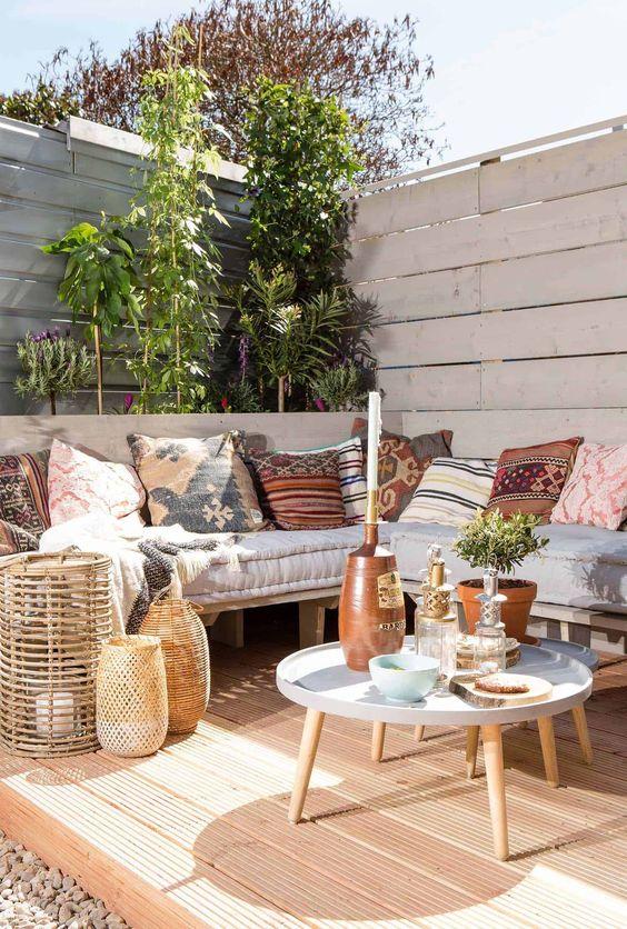 White cozy bohemian patio
