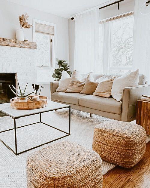 Aesthetic cozy bohemian living room