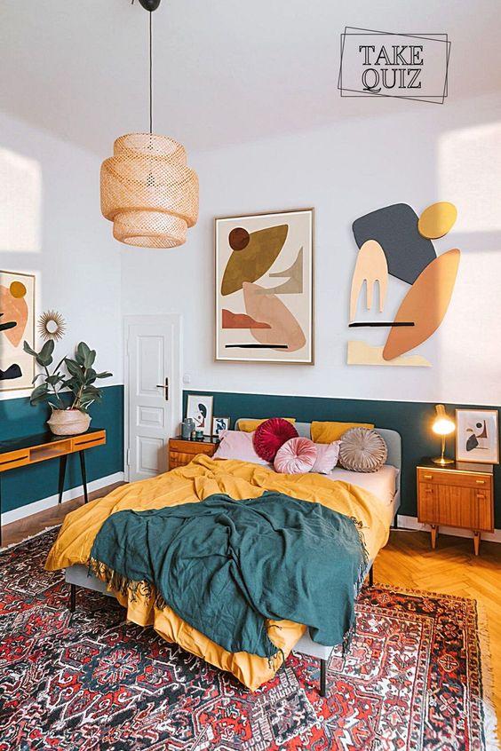 Colorful bohemian style ideas: Orange and dark green
