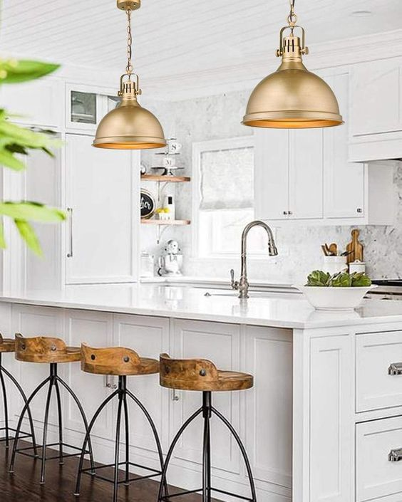 Gold kitchen pendant lamp for an industrial design