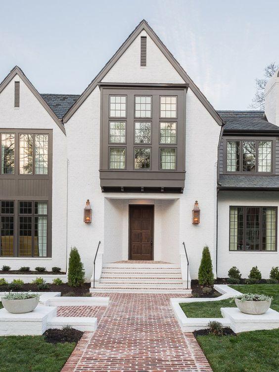 White and dark grey bohemian home exterior
