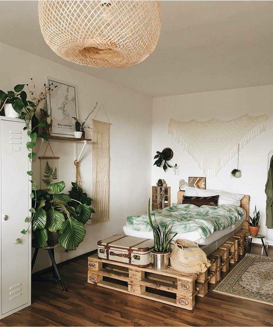 Bohemian industrial apartment bedroom design