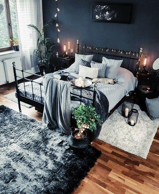 Dark blue bohemian bedroom concept