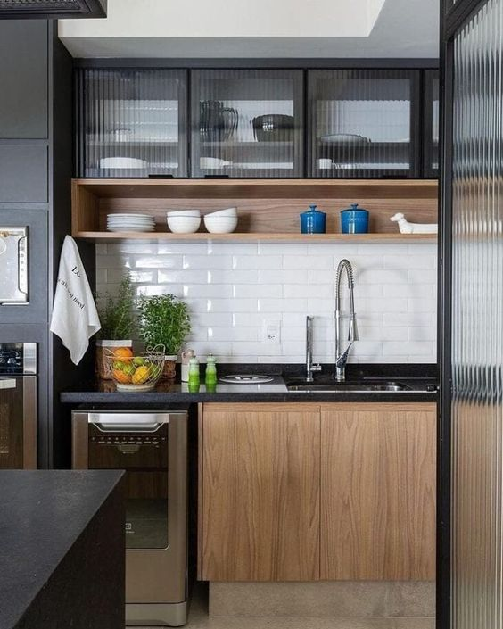 Simple small kitchen in industrial design