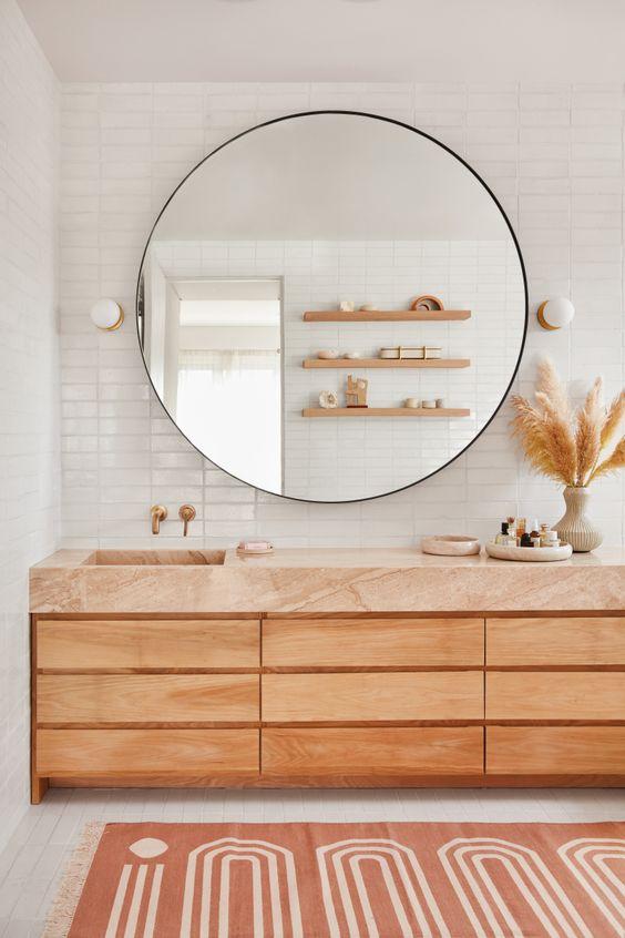 Light brown big bohemian bathroom vanity