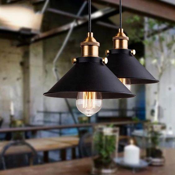 Black industrial kitchen pendant lamps