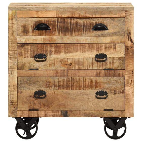 Natural wooden dresser for an industrial bedroom