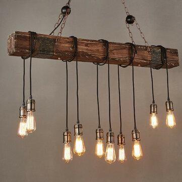 Wood beam industrial pendant light hanging ceiling