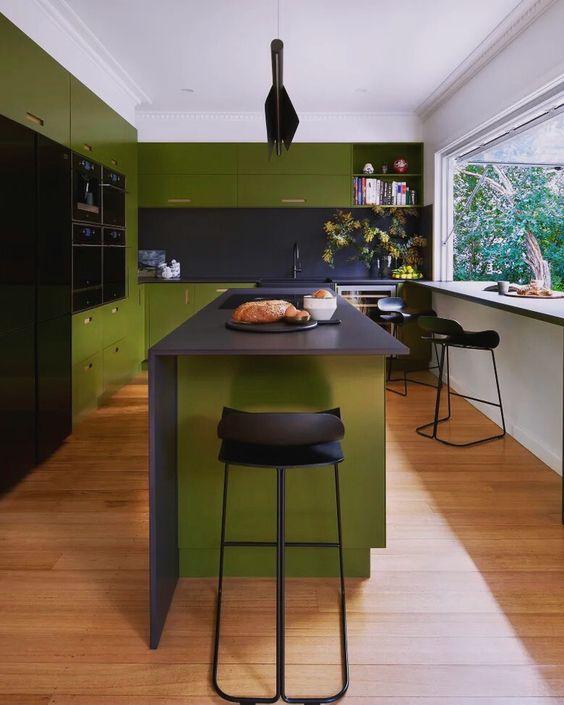 masculine green kitchen idea